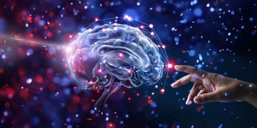 Hand berühren Gehirn und Netzwerkverbindung auf glitzernden hellen Lichtern buntem Hintergrund