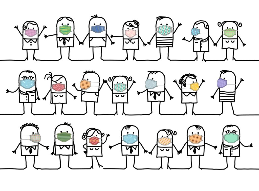 handgezeichnete Cartoon-Gruppe von Menschen, die hausgemachte farbige Schutzmasken tragen