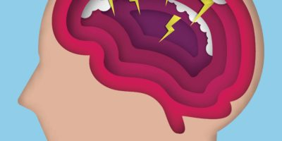 Kunststil des menschlichen Gehirns mit Donnerstrom im Inneren