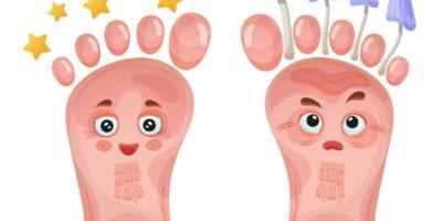 Gesunde und Problemfußcharaktere. Haut- oder Nagelpilz. Paar lustiges menschliches Bein. Medizinische Behandlung von Dermabeinkrankheiten, Pilzinfektionen. Vektor im Cartoon-Stil.
