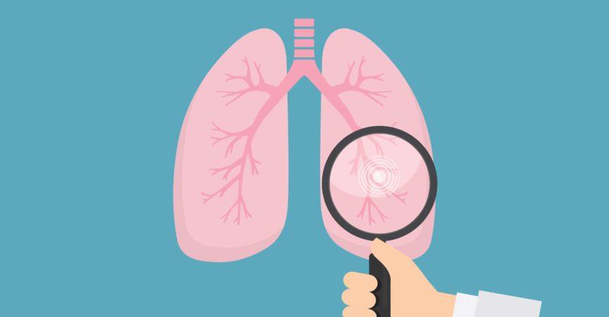 Menschliche Lunge mit Hand, die Lupe hält