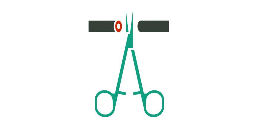 Mann-Empfängnisverhütung-Piktogramm. Vasektomie-Symbol in grünen medizinischen Farben. Vektorillustration im flachen Stil.