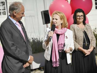 Von links: Präsident der Österreichischen Krebshilfe Paul Sevelda, Zweite Nationalratspräsidentin Doris Bures (SPÖ)
