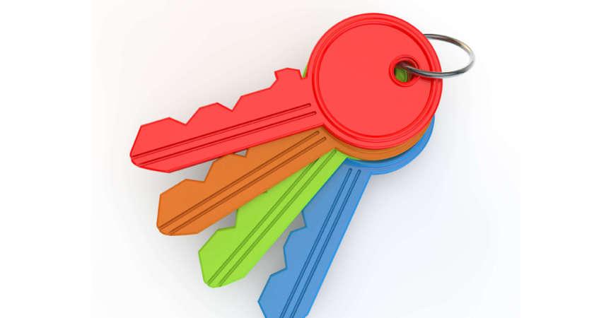 3D-Rendering-Konzept des Schlüsselsatzes
