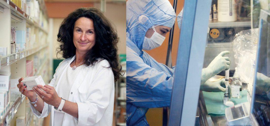 Mag. Martina Anditsch gab Einblick in den Warenein- und ausgang, (li.), die Zytostatika-Zubereitung mit 60.000 Zubereitungen pro Jahr (re.).