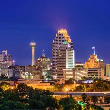 Skyline von San Antonio, Texas, USA.