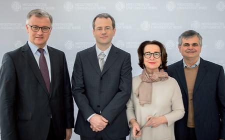 V.l.n.r.: Univ.-Prof. Dr. Markus Müller, Mag. Dr. Herwig Czech, Univ.-Prof. Dr. Christiane Druml, Univ.-Prof. Dr. Paul Weindling.