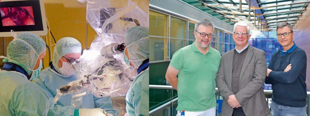 Operieren gemeinsam am ISG mithilfe des O-Arms: Unfallchirurg Dr. Christoph Hartl (oben li.) und Orthopäde Dr. Manfred Stock (re.). Das Implantat hat Dr. John Stark (oben Mitte) entwickelt.