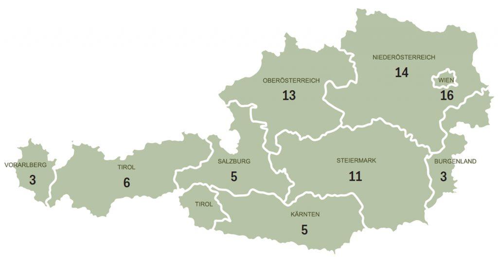 Zielwerte für Regionale Gesundheitszentren  Bis 2021 soll es mindestens 75 Zentren in ganz Österreich geben. Die Anzahl pro Bundesland regelt der Bundeszielsteuerungsvertrag.  Viele der Standorte sind nach wie vor offen.  Quelle: BMGF