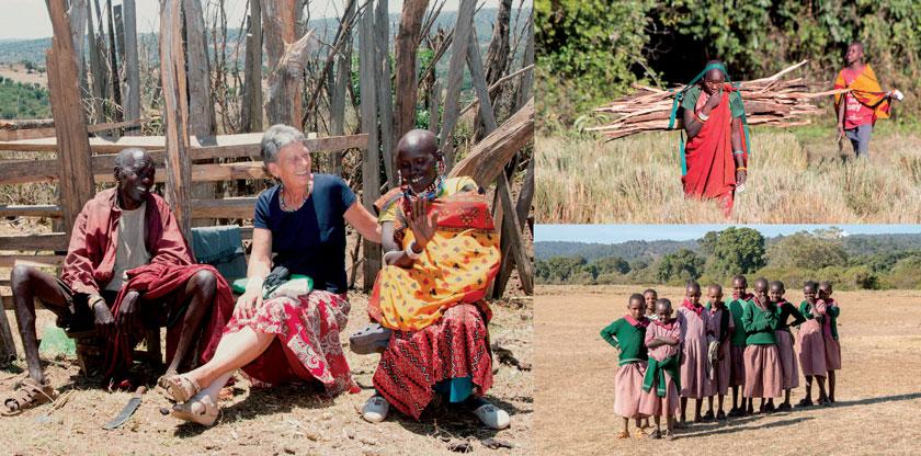 Dr. Maria Schiestl beim Besuch einer Maasai-Familie (li). Mädchen sind für die Beschaffung von Brennholz und Wasser zuständig, inzwischen besucht die Hälfte von ihnen die Schule.