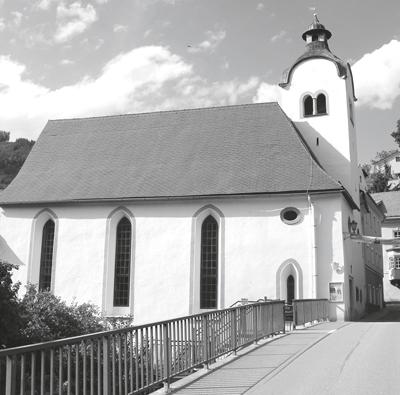 """Die St.ElisabethSpitalkirche von Murau, Steiermark: Mitte des 15. Jahrhunderts als Kirche genannt, seit 1979 evangelische Kirche und Diözesanmuseum. Jedes Bürgerspital besaß eine Kapelle oder eine eigene Kirche – die Bewohner des Spitals mussten sich ihren Platz durch Gebete """"erarbeiten""""."""
