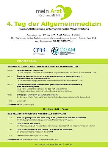 ÖÄK und ÖGAM luden zum Tag der Allgemeinmedizin am 27. Juni 2015