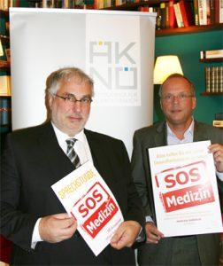 Präs. Dr. Christoph Reisner, MSc und VP Dr. Gerrit Loibl, MSc bei der Pressekonferenz zum Start des Volksbegehrens