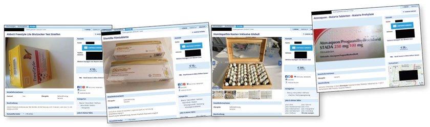 Einige Beispiele für Arzneimittel und Medizinprodukte, die im Internet privat verkauft werden.