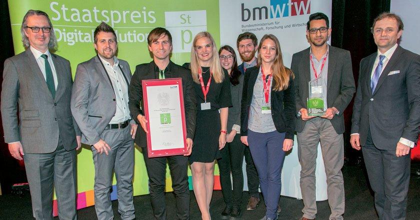 Michael Binder vom FFG (l.) und Andreas-Ulrich Schuh (BMWFW, r.) gratulierten Scarletred-CEO Harald Schnidar (Mitte) und seinem Team.