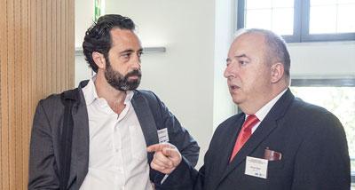 Prof. Dr. Schoppmann (li.) mit Prof. Dr. Michael Gnant am Symposium.