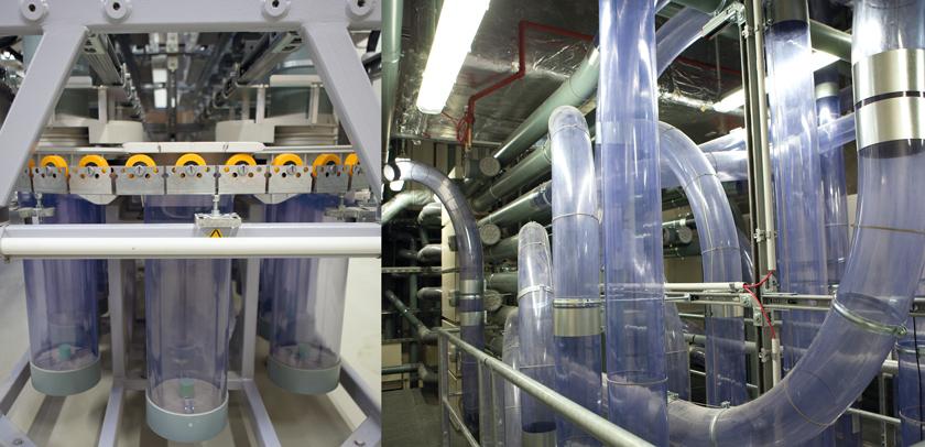 Eine der zwei Rohrpost-Verteilerzentralen im neuen Krankenhaus Nord. Acht Kilometer an Rohren wurden montiert, aufgeteilt in 37 Standard-Linien, vier Mehrhülsen-Linien und zwei direkte Verbindungen zwischen OP-Bereich und Pathologie.
