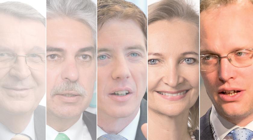 Alexander Biach (r.) ist bereits der fünfte HV-Chef seit 2005 (v.l.: Erich Laminger, Hans Jörg Schelling, Peter McDonald und Ulrike Rabmer-Koller).