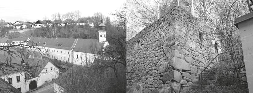 Das Bürgerspital von Weitra (NÖ), eine frühgotische Kirche aus dem Mittelalter. Im hinteren Teil befand sich der aus kleinen Zellen bestehende Wohntrakt der Spitalbewohner, der 1729 bis 1731 neu errichtet wurde. Gegenüber dem Spital befand sich der Getreidekasten (Foto rechts), wo das Spital die selbst erwirtschafteten und zugekauften Lebensmittel – etwa Getreide oder Wein – lagern konnte.