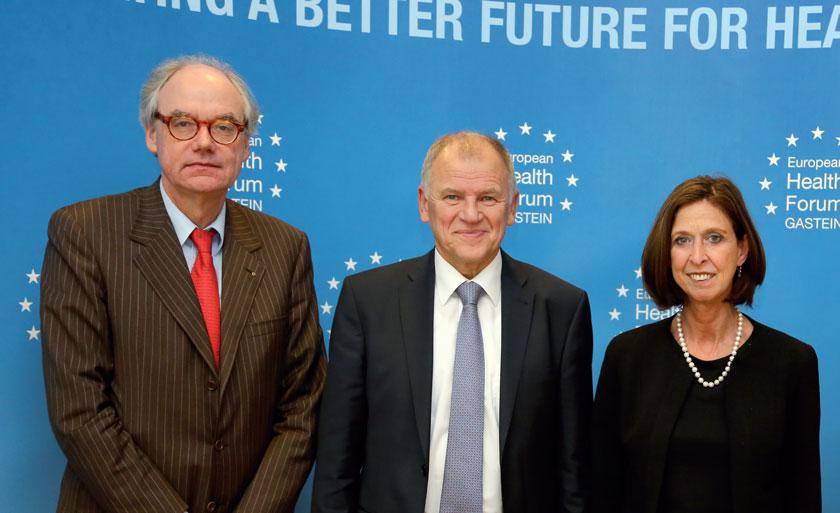 EHFG-Präsident Prof. Helmut Brand, EU-Kommissar Vytenis Andriukaitis und Luxemburgs Gesundheitsminsterin Lydia Mutsch.