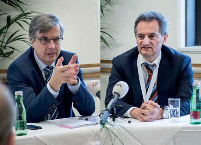 """Samonigg (links): """"Es gibt im Bereich der Grundlagenforschung von Krebs viel zu wenig und für klinische Studien keinerlei öffentliche Gelder."""" Greil (rechts): """"Qualitätskontrollen führen zu verbesserten Behandlungserfolgen und zu höherer Effizienz der eingesetzten Ressourcen."""""""