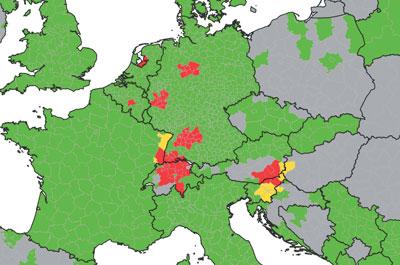 Die ECDC-Vectormap zeigt, wo sich Aedes japonicus etabliert hat (rot) und wo die Mücke eingeschleppt wurde (gelb).