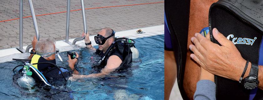 Dr. Hartig mit seinem Patienten vor dem Tauchgang im Schwimmbecken (li.). Danach wurden die Schrittmacherdaten drahtlos ausgelesen (oben).