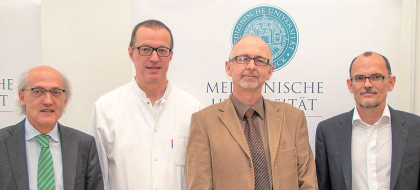 """Die Tiroler Forscher Willeit, Tilg, Ulmer und Kiechl (v.l.n.r.) stellten Ergebnisse der kürzlich im """"Lancet"""" veröffentlichten Studie vor."""